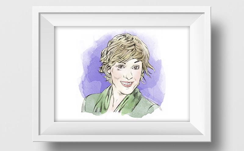 Ilustración a lápiz y acuarela de Anabel Alonso
