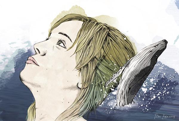 Ilustracion personalizada ballena chica