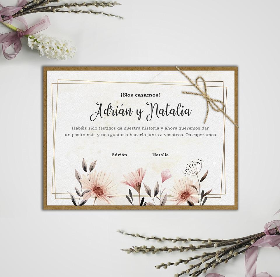 Invitación boda parte trasera vegetal