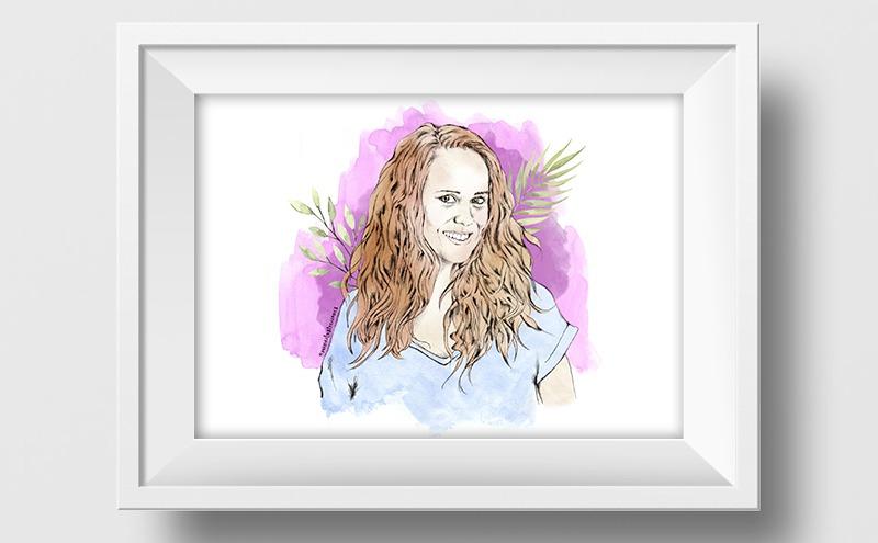 Ilustración a lápiz y acuarela de Maria Castro