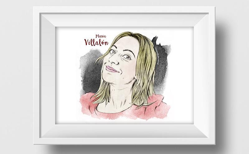 Ilustración a lápiz y acuarela de Maria Villalón