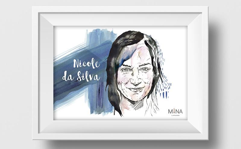Ilustración a lápiz y acuarela de Nicole da Silva