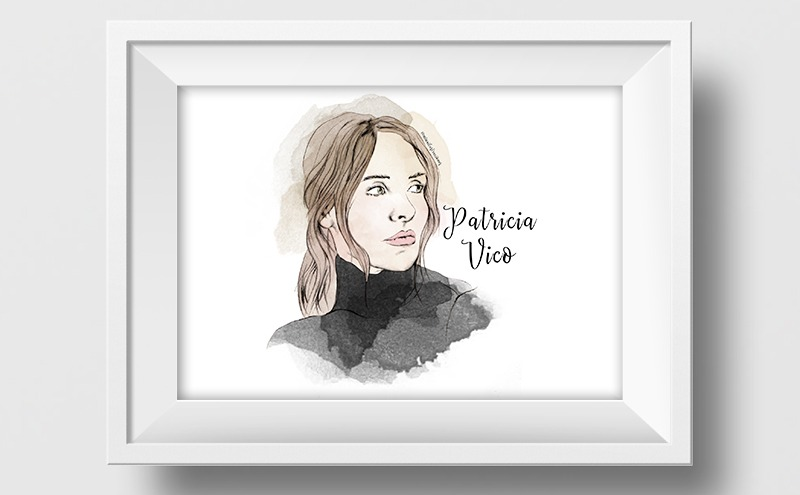 Ilustración a lápiz y acuarela de Patricia Vico